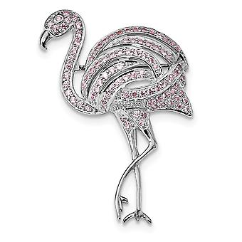 34mm 925 Sterling Silver Rhodium plated Pink CZ Cubic Zirconia Simulated Diamond Flamingo Pin Jewelry Gifts for Women