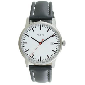 Aristo Bahnhofsuhr Men ' s Watch aço inox 3H195 couro