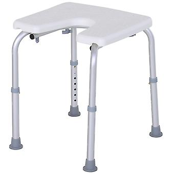 Homcom 7-Level Adjustable Aluminum Bath Stool Spa Shower Chair w/ Non-Slip Feet For The Pregnant, Old, Injured