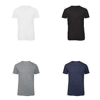B & C Mens favoritt Triblend v-hals t-skjorte