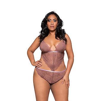 Womens Plus Size Symmetrical Lace Cutout Side Teddy Bodysuit Lingerie