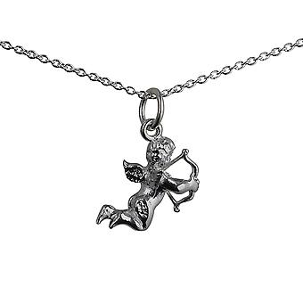 Silver 15x13mm solid Cupid Pendant with a rolo Chain 14 inches Only Suitable for Children