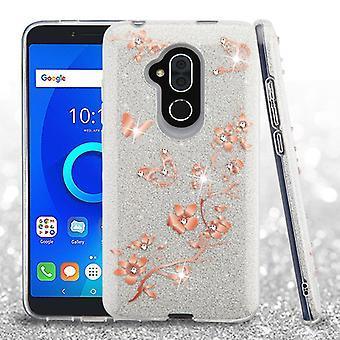ASMYNA Hybrid Case for T-Mobile Revvl 2 Plus/7 Folio - Motyle/Kwiaty/Pełny Brokat