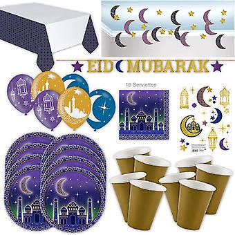 Sugar Festival Ramadan Party Set XL 61-stuk voor 8 gasten Ramadan Fastfest Party Decoration Party Package