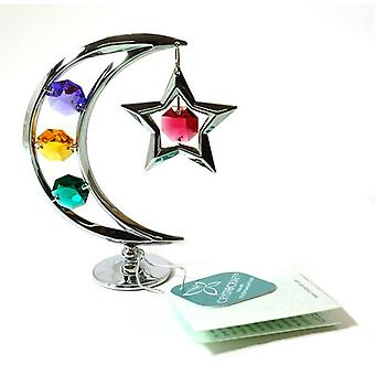 Crystocraft Freestanding Moon And Star With Coloured Crystals