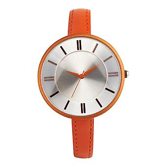 Eton Fashion Watch, Rubber Touch Plated Orange Case & Leather Strap 3168J-OR