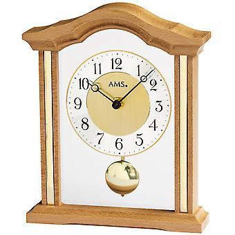 AMS 1174/18 Reloj de mesa Cuarzo con haya de madera analógica de péndulo con vidrio