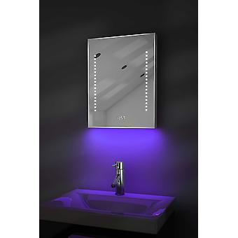 Clock Slim Mirror with UnderLighting,Bluetooth&Sensor k188waud