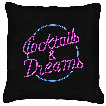 Cocktail Cocktails And Dreams Neon Sign Cushion