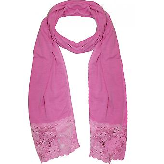 A Postcard from Brighton Pink Lace Detailed Scarf