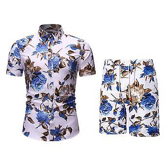 גברים ' s מודפס פרחוני שרוולים קצרים חולצות כיס