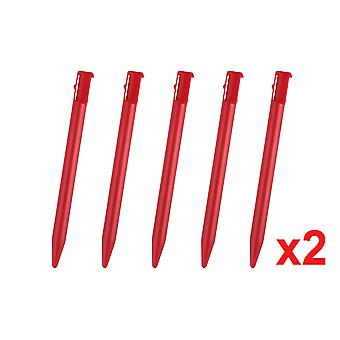 10 Red Touch Stylus Pen For Nintendo 3DS Rigid Plastic Gaming
