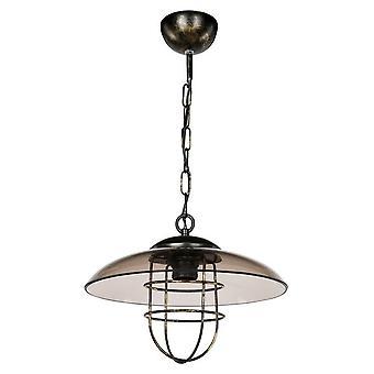 Kefken Hängeleuchte Schwarz Farbe, Transparentglas, Metall, Kunststoff, L30xP30xA52 cm