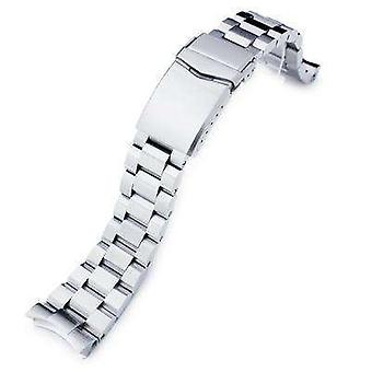 Strapcode watch bracelet 22mm hexad oyster 316l stainless steel watch band for seiko skx007, v-clasp button double lock