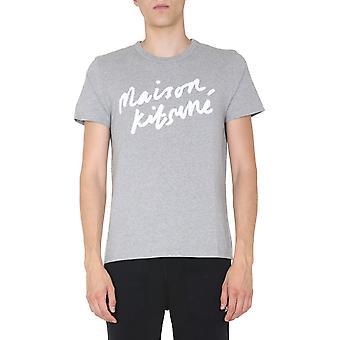 Maison Kitsuné Am00104kj0008grm Men's Grey Cotton T-shirt