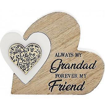Plaque de grand-père de coeur double de sentiments