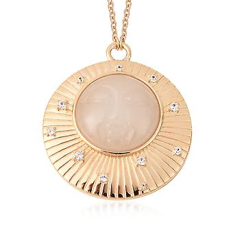 GP Circle White Jade Ketting Gold Plated Silver White Zircon, Blue Sapphire