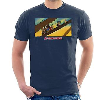 An American Tail Fievel And Family On Rope Men-apos;s T-Shirt