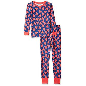 Essentials Little Girl's Long-Sleeve Tight-Fit 2-Piece Pajama Set Slee...