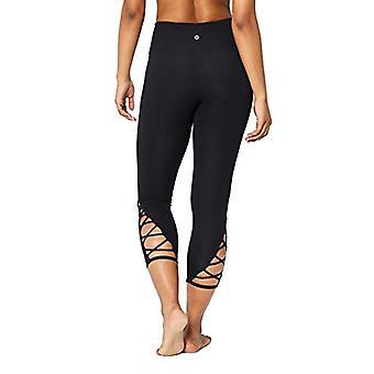 """Marke - Core 10 Damen hohe Taille Yoga Gitter 7/8 Crop Legging - 24"""", schwarz, Medium"""