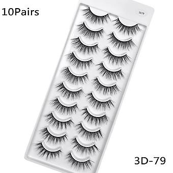 5/10pairs Handmade Mink Eyelashes - 3d Natural False Long Eye Extension
