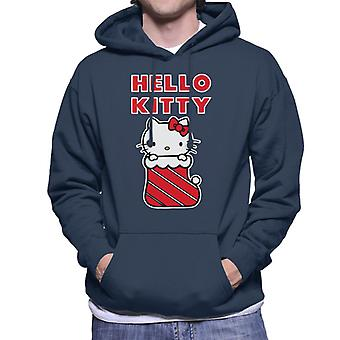 Hello Kitty I julen Strømpe Men's Hætteklædte Sweatshirt