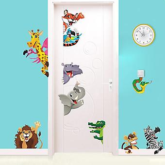 Sala de Adesivos de Porta de Animais de Desenho 3D, Decoração de Quarto e Parede de Safári
