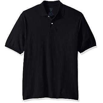 Jerzees Men's Spot Shield Short Sleeve Polo Sport Shirt, Black, X-Large