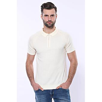 Polo zippered patterned cream knitted t-shirt