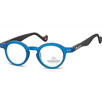 Läsglasögon Unisex rund blå tjocklek +2.00 (box69)
