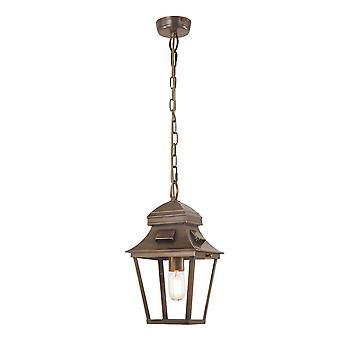 1 Light Outdoor Ceiling Chain Lantern Brass IP44, E27