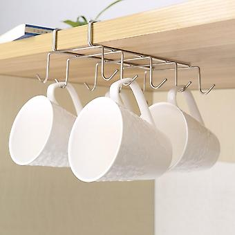 10 Hooks Stainless Steel  Kitchen Rack- Cupboard Hanging Tumbler Holders Coffee / Tea Cup Mug Shelf For Insetting Cup Holder (nickel Other)