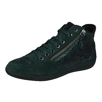 Geox D Myria A Womens Leather Zipped Trainers - Vert