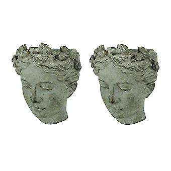 Distressed Cement Classic Grecian Lady Head Indoor/Outdoor Hanging Planters Set