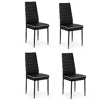 Set von 4 schwarzen ECO Leder Stühle auf Metallrahmen