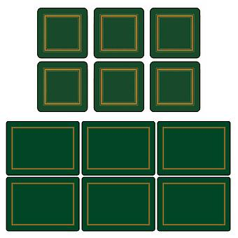 Pimpernel Classic Emerald Green Placemats and Coasters Set of 6