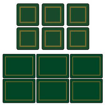 Pimpernel Classic Emerald Green Placemats and Coasters Set van 6