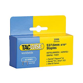 Tacwise 53 Light-Duty Staples 14mm (Type JT21, A) Pack 2000 TAC0338