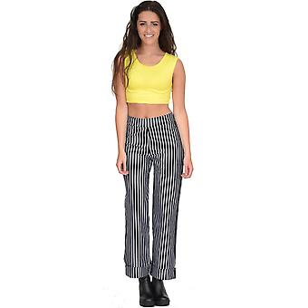 Cropped Stripe Flared Trousers