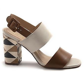 Brown and White Tabita Sandals With Decorated Heel