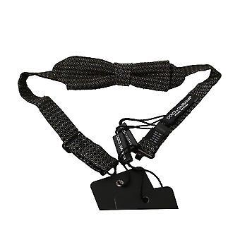 Black patterned mens necktie papillon 100% silk bow tie