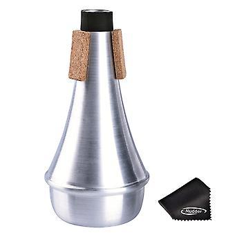 Praktijk trompet rechte gedempte demper aluminium met reinigingsdoek, zilver