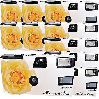 10X foto porsta desechable cámara de boda / rosas amarillas (cámaras 27 fotos flash 10 paquete) & hellip;