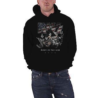 BEIJO hoodie made nos EUA afligido banda logo oficial Mens pullover preto