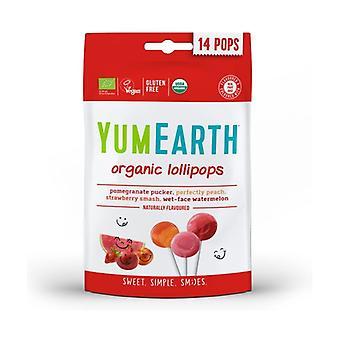 Organic Fruit Lollipops 4 Flavors 14 units