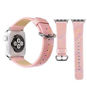 لسلسلة Apple Watch 3 &; 2 &; 1 38mm لامعة جلد جلد نمط نمط مشاهدة المعصم الأصلي باند (الوردي)