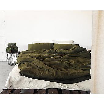 Moss Green Leinen Bettwäsche Set