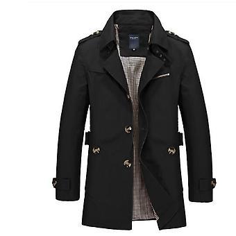 Miesten rento takki, pitkä trenssi takki, puuvilla pesty klassinen rinta päällystakki