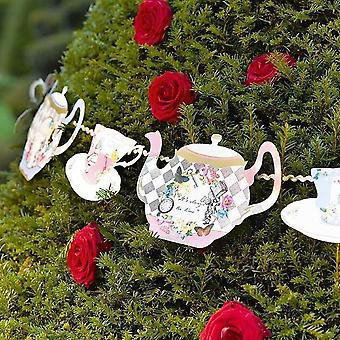 Alice in Wonderland Teapot Paper Bunting Decoration x 4 m Wedding / Party