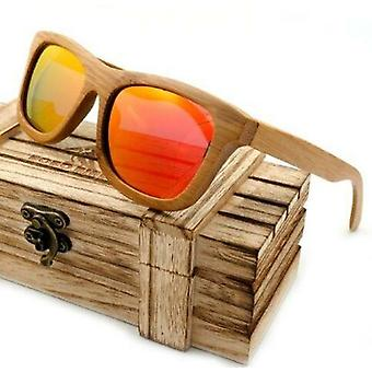 100% Natural Bamboo Wooden Sunglasses Handmade Polarized Mirror